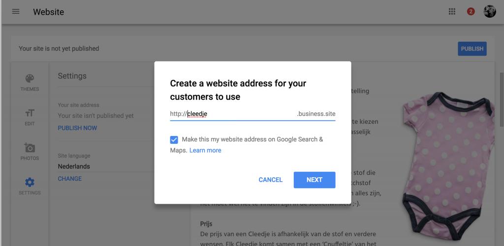 Schermafbeelding Google Mijn Bedrijf website maken